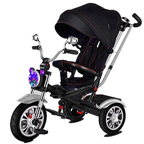 Cochecito de bebé, GUO@ Triciclo para NiñOs 1-3-6 AñOs De Edad Ligero Asiento Giratorio/Reclinable/con...