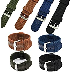Charminer 18/20/22/24mm Mens Army Military Nylon Fabric Canvas Watch Band Strap