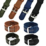 Charminer 18/20/22/24mm Mens Army Military Nylon Fabric Canvas Watch Band Strap blue 20mm