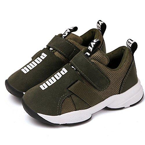Daclay Scarpe per Bambini Ragazze per Ragazzi Scarpe Sportive Traspiranti Traspiranti con Tomaia in Pelle Confortevole con Velcro Leggero Sportivo (29 EU, Verde Militare)