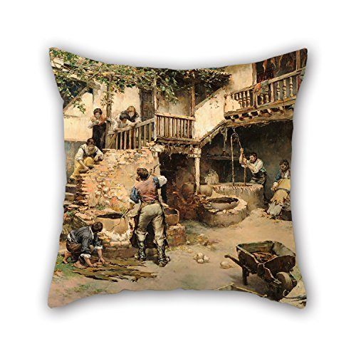 beautifulseason Oil Painting Arredondo Y Calmache, Ricardo - Tanners Workshop - Tanners Workshop of Ubide Pillow Cases 20 X 20 Inches/50 by 50 cm Best Choice for Father,Coffee House,him,Christmas - Boden Cord Cover