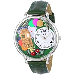 Whimsical Watches Casino Hunter Green Leather and Silvertone Unisex Quartz Watch with White Dial Analogue Display and Multicolour Leather Strap U-0430005