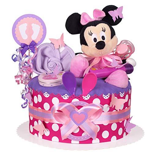 MomsStory - Windeltorte Mädchen | Minnie Mouse Disney | Baby-Geschenk zur Geburt Taufe Babyshower | 1 Stöckig (Lila-Pink) mit Plüschtier Lätzchen Schnuller & mehr Disney Mädchen Minnie Mouse