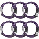 """Seismic Audio Seismic 6 Pack Purple 1/4"""" TRS XLR Male 6' Patch Cables Purple - SATRXL-M6Purple6"""