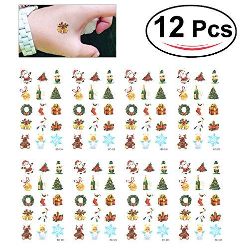 OULII Tatuaggi Tattoo temporanei impermeabile per bambini con figurine di Natale colorato (12PCS)
