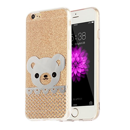"""MOONCASE iPhone 6s Coque, Bling Glitter Motif Etui TPU Silicone Antichoc Housse Case pour iPhone 6 / iPhone 6s (4.7"""") (Ours - Or) Petit Ours - Or"""