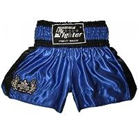 4Fighter Muay Thai Shorts Classic blau-schwarz Tribal Logo am Bein
