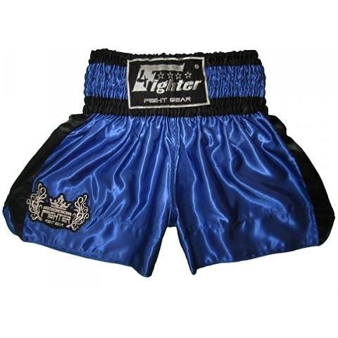 4Fighter Muay Thai Short Classic in blu-nero con 4fighter logo sulla gamba, Taille:XXXL - Muay Thai Kickbox Shorts