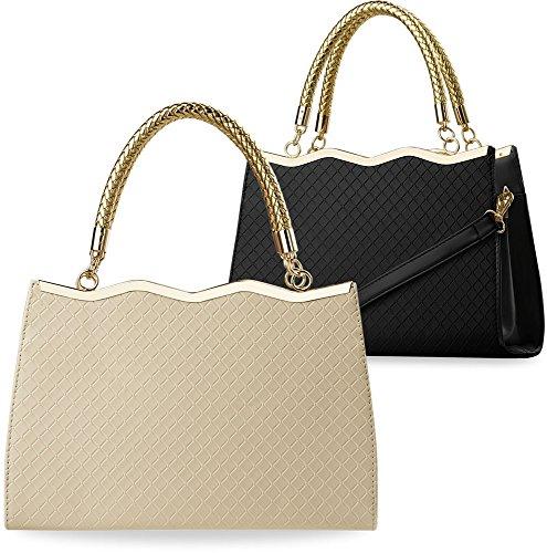 Damentasche Bowlingbag mit Prägungen Henkeltasche beige schwarz (beige) beige