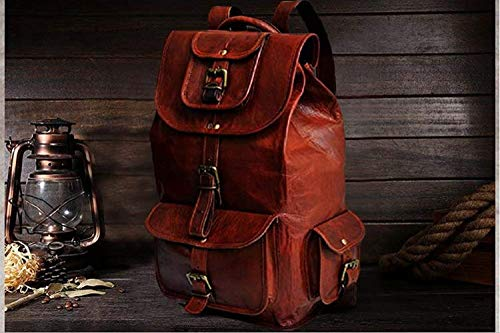 "pranjals house Vintage Handmade Leather Trendy Backpack Bag for Unisex (Darkish Brown) 16""(L),11""(W),7""(D) Image 4"