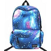 Hubitowis Zaino della tela di canapa unisex di svago sacchetto di scuola Zaino per adolescenti che Galaxy (Blu-2)