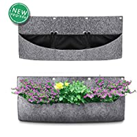 ANSUG Hanging Planter Bags, Horizontal Wall Hanging Planting Bags Waterproof Thicken Greening Flower Container for Yards, Apartments, Gardens