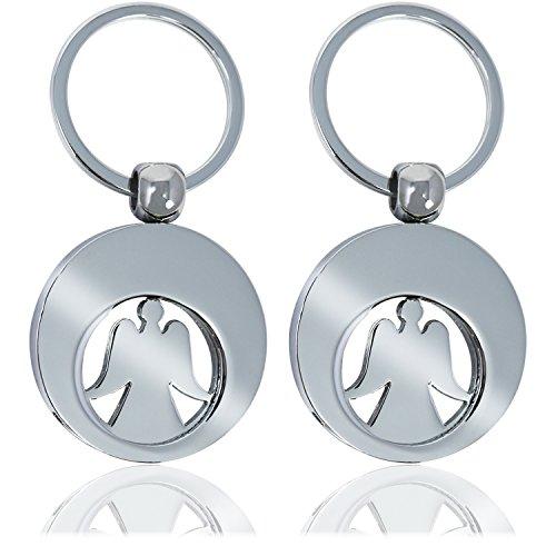 com-four® 2X Schlüsselanhänger Schutzengel Engel mit herausnehmbarem Chip Coin Engel für den Einkaufswagen (002 Stück - Engel)