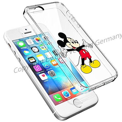 Blitz® DISNEY Schutz Hülle Transparent TPU Cartoon Comic Case iPhone 5 Joker/Batman iPhone 5/5s Mickey Mouse grüsst