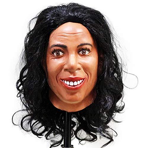 COMLZD Realistische Maske aus Latex für den menschlichen Kopf, Crossdressing weibliche Maske, Halloween, Talkshow-Party, Kostüm.