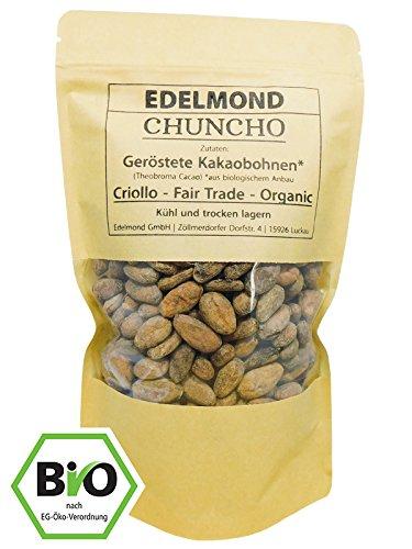 Edelmond Chuncho geröstete Bio Kakaobohnen. Frischer, allerbester Criollo Andenkakao sortenrein. Low Cadmium