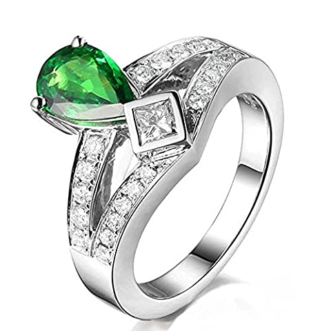 Fashion Engagement 14K White Gold Natural Pear 6X8mm Diopside Gemstone Purity Wedding Ring Set for Women