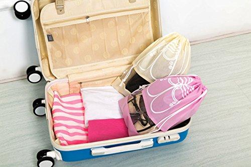 kmool Travel Schuhbeutel mit Kordelzug, 5große Taschen und 5mitte Beutel pro Set Beige