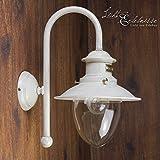 Außenwandleuchte Weiß Gold Handarbeit Echt-Messing Maritim Shabby Glasschirm Außenleuchte Wandlampe Haus