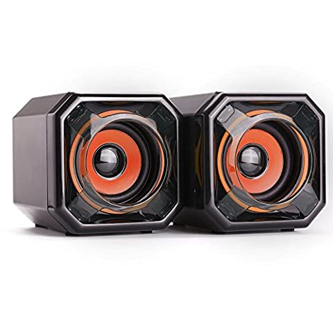 WESDAR PC Speakers 3.5mm Audio Jack USB Powered Subwoofer Compute Set for Mac iMac Gaming PC Laptop Desktop Notebook Computer Tablet, Pack of 2, Black and Orange,