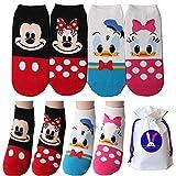 Disney Charakter Knöchel Socken mit Beutel Packung mit 4 Paaren - Mickey Mouse, Minnie Mouse, Donald Duck, Daisy Duck (Mickey Maus, Minnie Maus, Ente Donald, Ente Daisy) Sneakersocken
