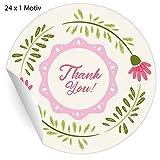 24 liebevolle Dankes Aufkleber mit Blumen Kranz: Thank you!, MATTE universal Papieraufkleber für Geschenke, Etiketten für Tischdeko, Pakete, Briefe und mehr (ø 45mm