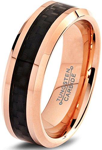 Tungsten Wedding Band Ring 6mm for Men Women Comfort Fit 18k Rose Gold Plated Black Carbon Fiber Beveled Edge Polished Lifetime Guarantee Size 49 (15.6) -