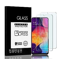Jacess Panzerglas kompatibel mit für Samsung Galaxy A50/A50S   [2 Stück] volle randlose Abdeckung [absolut passgenau mit Rand]