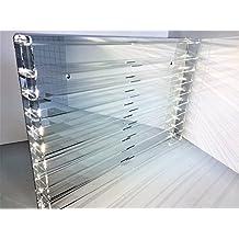 Técnicas Láser TR.4.2L9B/E Vitrina de Metacrilato, Transparente, Fondo Espejo, Montada mide 50x75x5 (altoxanchoxfondo), Set de 14 Piezas