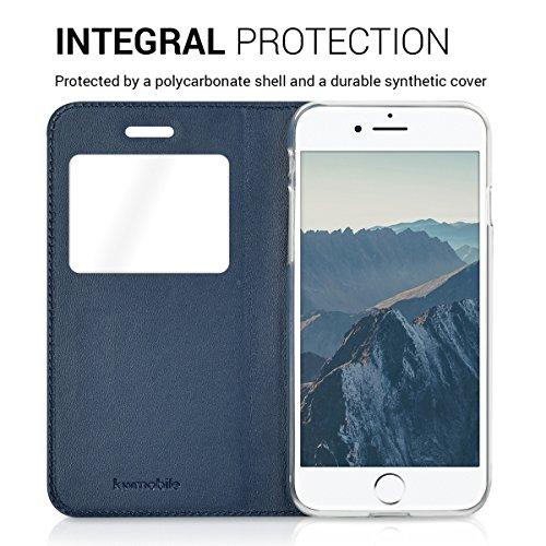 kwmobile Cover per Apple iPhone 7 / 8 - Custodia magnetica con apertura a libro e finestra di visualizzazione in pelle sintetica - Flip case oro .blu scuro