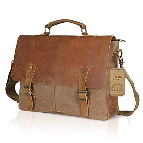 Lifewit Vintage Messenger Bag 15,6 Zoll Umhängetasche