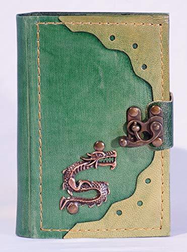 Diario Piel Verde Rayas Dragón, Cuaderno con cierre, piel libro, Diary, en blanco libro, Kladde