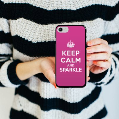 Apple iPhone X Silikon Hülle Case Schutzhülle Keep calm and sparkle Mädchen Sprüche Hard Case schwarz