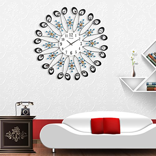DZW Horloge Murale Nordique, Horloge Murale Circulaire Muet avec Diamant Acrylique, Horloge Murale De Salon De Restaurant (sans Piles) 65 * 65Cm