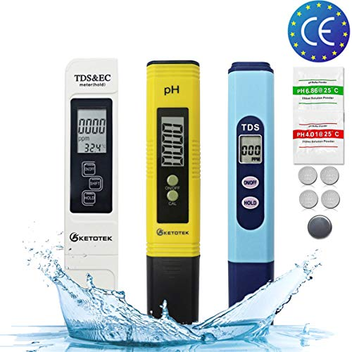 KETOTEK PH TDS EC Messgerät Meter Messstiftkits Digital PPM Messgerät für Wasserqualität 3 in 1 Sets ATC 0-14PH 0-9990PPM 0-9999 μs/cm tragbar Hydroponics PH TDS EC Batterie enthalten (PH+TDS+TDS&EC) -