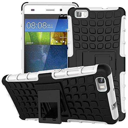 Preisvergleich Produktbild Nnopbeclik Huawei P8 Lite Hülle,  Dual Layer Rugged Armor stoßfest Handy Schutzhülle Silikon Tasche für Huawei P8 Lite - Weiß + 1x Display Schutzfolie Folie