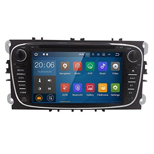 """Android 7.1 Quad Core Autoradio DVD Player mit GPS Navi für Ford Focus Mondeo Galaxy S-MAX Unterstützt DAB+ Bluetooth WLAN Fastboot USB SD CD Lenkradfernbedienung 7"""" Schwarz (Auto-radio Mit Dvd-player)"""