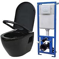 vidaXL Inodoro de Pared con Cisterna y Cierre Suave Cerámica Negro Váter WC