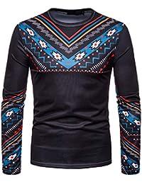 TWBB Camisetas Camisetas, Manga Larga Estampada Africana Casual Estampada OtoñO E Invierno para Hombre