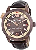 Sector Men's Quartz Watch with Blue Dial Analogue Display and Black Leather Strap R3251102020