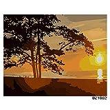 DAMENGXIANG DIY Hand Gemalt Digitale Ölbild Sonnenuntergang Bäume Landschaft Moderne Abstrakte Kunst Bilder Für Wohnzimmer Home Decor 40 X 50 cm Mit Rahmen