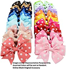 Online Monk Girl's Polka Dots 3-inch Ribbon Hair Bows with Alligator Clips - Set of 5 (Free Size, Assorted, OM-3inch-PDC5-01)