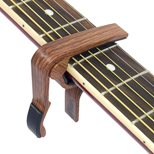 Tiger Trigger Capo with a Dark Wood Finish - Wooden Finish Guitar Capo - Suitable for Acoustic, Electric and Bass Guitar