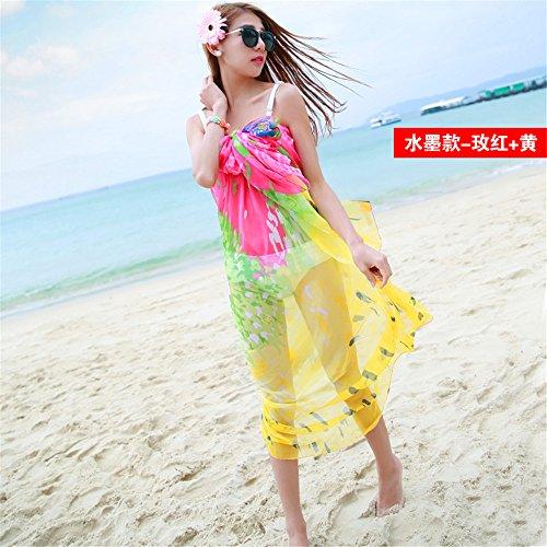 Yrxdd sciarpe lunghe sezione signore estate teli da spiaggia bohemian stampa sciarpa sciarpa sciarpa scialle,rosa rosso giallo 145 * 195cm