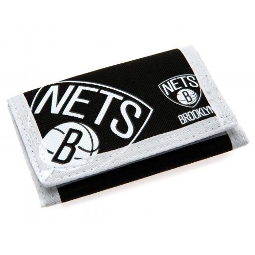 Brooklyn Nets nylon WALLET- Klettverschluss nylon WALLET- 2 RV Taschen-Ca. 12 x 8 cm, CLOSED- auf header Karten Offizielles FußBall-Merchandising-Produkt