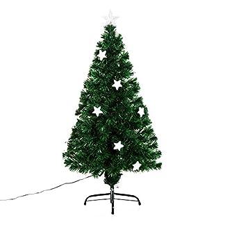 HomCom Arbol de Navidad Verde Φ60x120cm + Luces LED Arbol Artificial