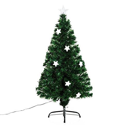 Outsunny homcom albero di natale artificiale in fibra ottica con 16 luci led a forma di stella altezza 120 cm foltissimo