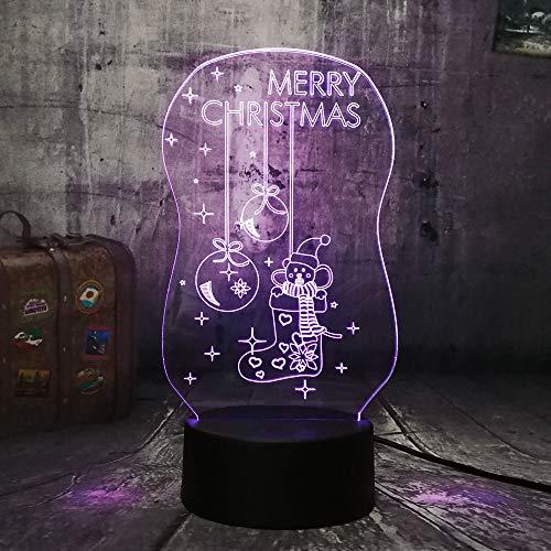 3D Lampe Nachtlicht Stimmungslicht Tischlampen Frohe Weihnachten Socke Berühren/Remoto-Schalter Perfekte Geschenk des Kindes -