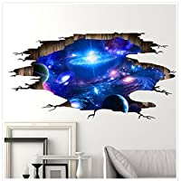 3D Wall Stickers Galaxy Ceiling Sticker Space Wallpaper TV Wall Murals, Art Stickers Illusion Cool 3D Poster PVC Decorative Bedroom Living Room Kids Room Home Decor for Teens Girls Boys Gifts.