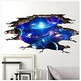 3D Wandaufkleber, Guizen Einzigartig Stereo Galaxis Tapete Abnehmbar PVC Wandgemälde Kunstabziehbild Selbstklebend Poster für Schlafzimmer Wohnzimmer Stock Decke Fernseher Sofa Hintergrund